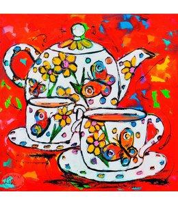 """Vrolijk Schilderij 60 x 60 cm schilderij  """"Tea Time"""""""