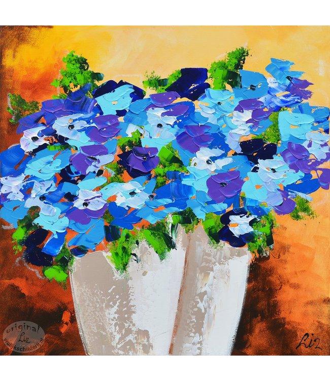 """Vrolijk Schilderij 60 x 60 cm schilderij  """"Bloemenvazen"""""""
