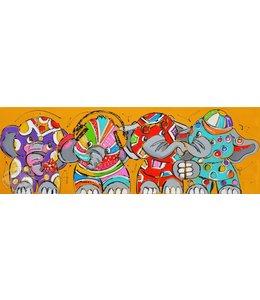 """Vrolijk Schilderij 150 x 50 cm schilderij  """"Olifanten"""""""