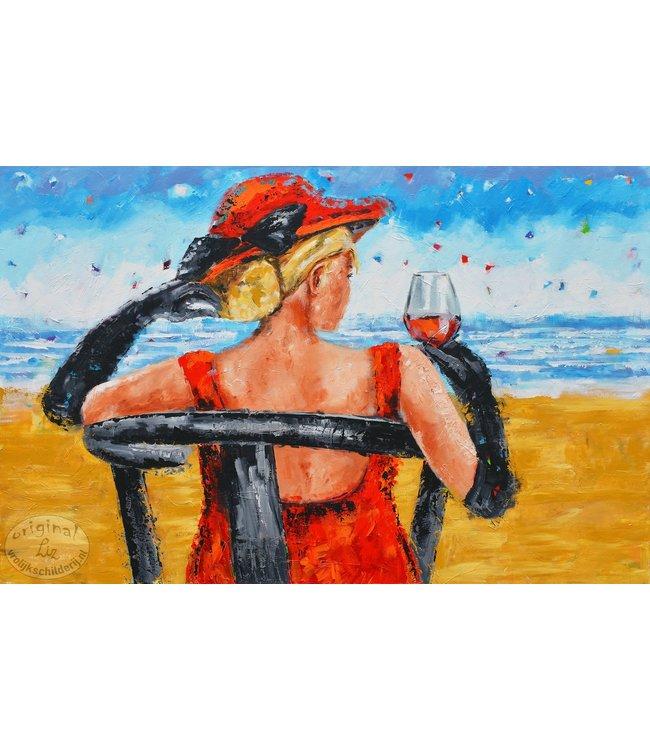 """Vrolijk Schilderij 150 x 100 cm schilderij  """"Dame"""""""