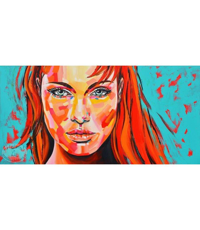 """Vrolijk Schilderij 140 x 70 cm schilderij """"Angelina Jolie"""""""