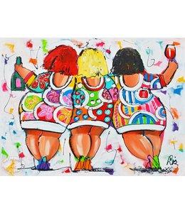 """Vrolijk Schilderij 100 x 80 cm schilderij  """"Party""""  Verkocht"""