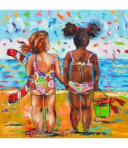 """Vrolijk Schilderij 80 x 80 cm schilderij  """"Beach"""""""