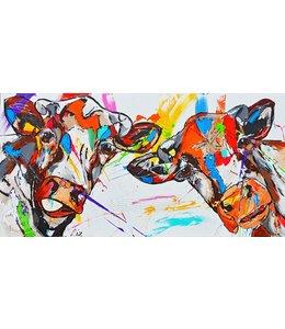 """Vrolijk Schilderij 160 x 80 cm schilderij """" Happy Cows"""""""