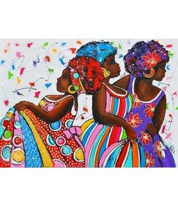 """Vrolijk Schilderij 120 x 90 cm schilderij  """"Dancing"""""""