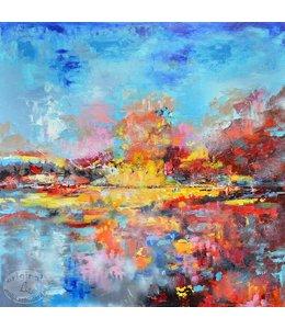 """Corrie 90 x 90 cm schilderij  """"Landschap"""""""