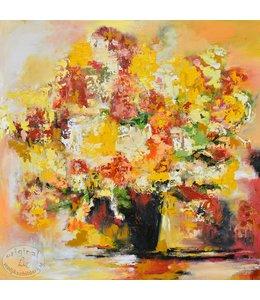 """Corrie 100 x 100 cm schilderij """"Vaas geel"""""""