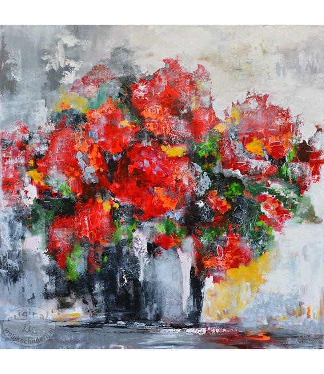 """Corrie 100 x 100 cm schilderij """"Vaas rood"""""""
