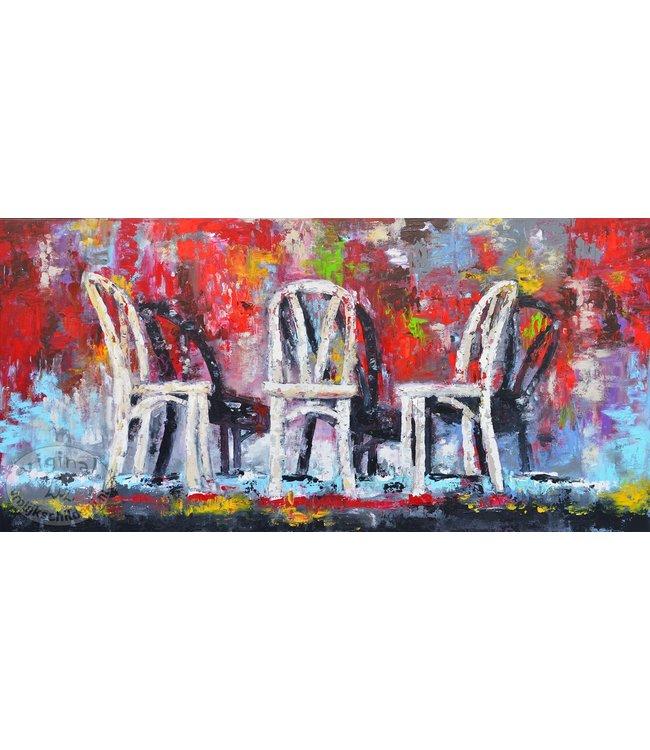 """Corrie 160 x 80 cm schilderij """" Chairs"""""""