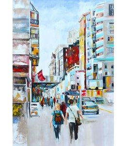 """Vrolijk Schilderij 100x150 Schilderij """"Samen op weg"""""""
