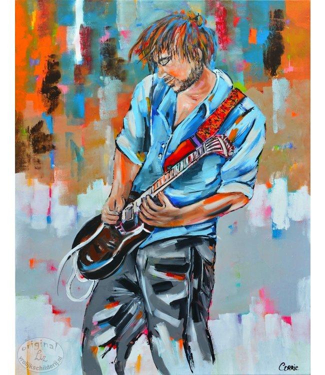 """Corrie 90-120 cm schilderij """"Gitarist"""""""
