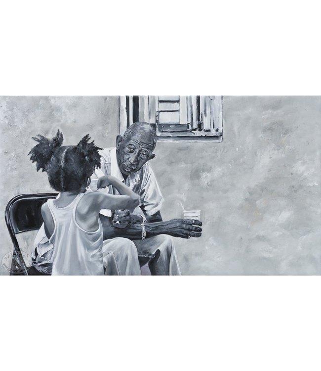 """Corrie 160x90 cm schilderij""""Zuid Amerikaans tafereel"""""""