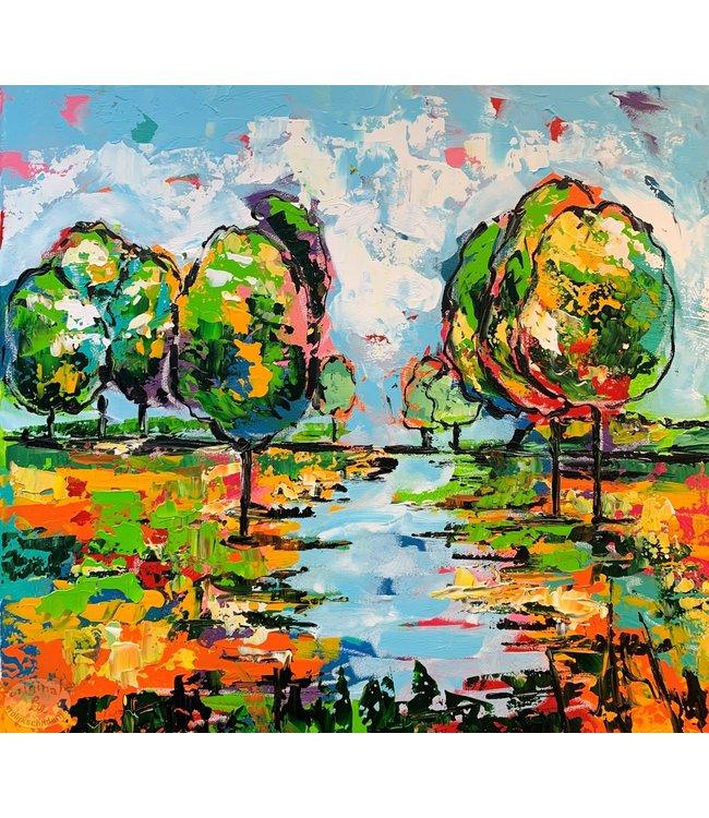 """Corrie 60x60 schilderij """"Landschap met beek"""""""