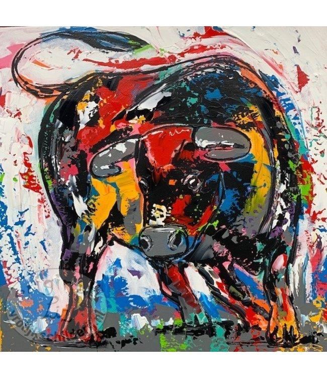 """Corrie 60x60 cm schilderij """"Bonte stier"""""""