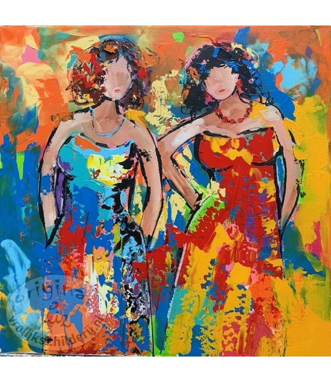 """Corrie 60x60 cm schilderij """"Vriendschap"""""""