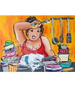 """Corrie 60x80 cm schilderij """"aan de afwas"""""""