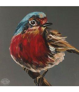"Corrie 60x60 cm schilderij ""Roodborstje"""