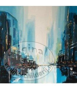 """Corrie 50x50 cm schilderij """"Skyline"""" Verkocht"""