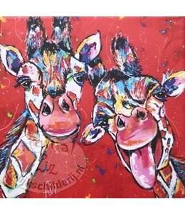 Vrolijk Schilderij Kunstdruk 2 cm ''Giraffes Rood'' 20x20 cm '''