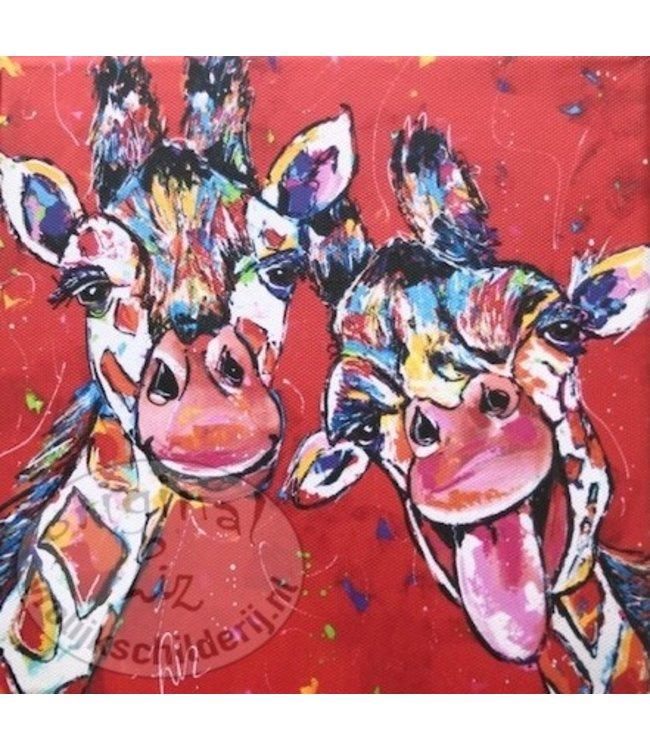 Vrolijk Schilderij Kunstdruk 2 cm 20 x 20 cm ''giraffes rood''