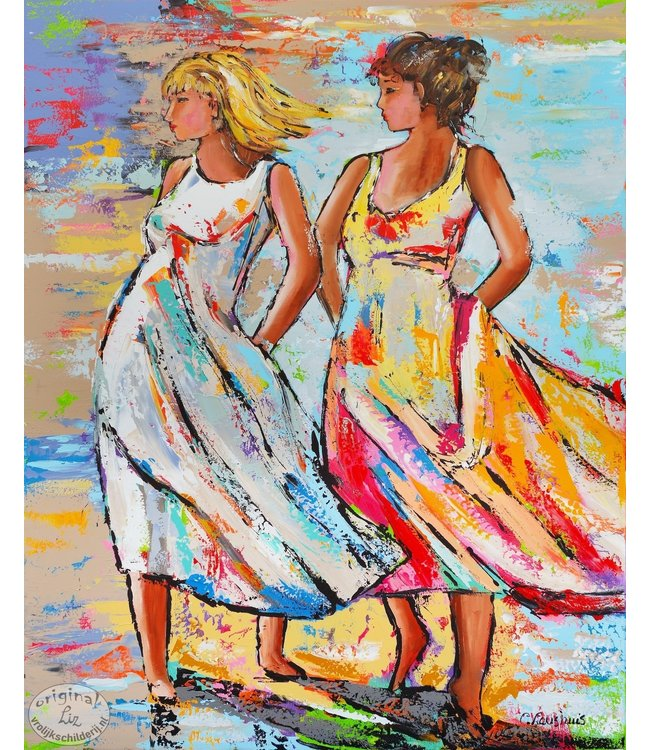 90 x 120 Two Lady`s on the beach