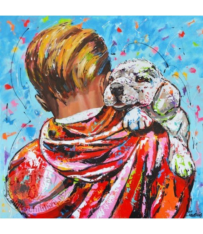 Corrie 100 x 100 jongen draagt hond