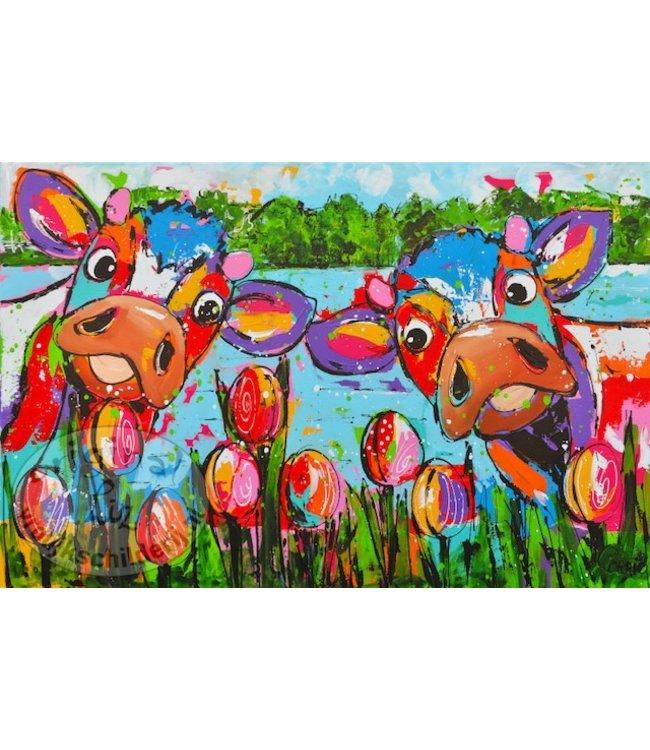 Corrie 120 x 80 Koeien met tulpen Verkocht