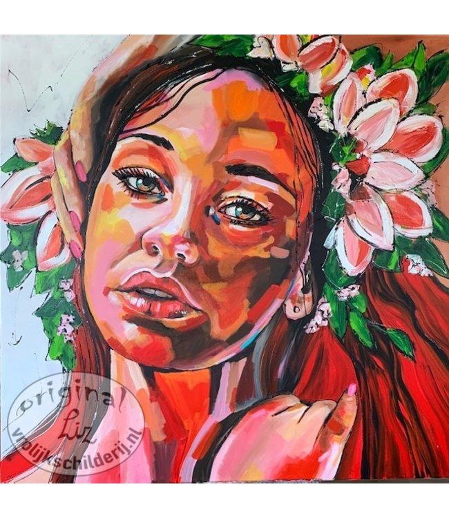 Corrie  120 x 120 Kleurrijk Portret