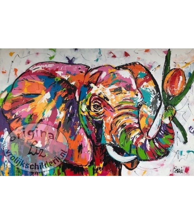 Corrie 80 x 120 cm  Olifant met Tulp
