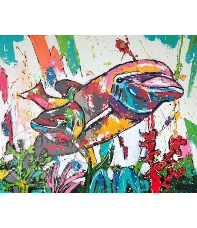 Corrie 100 x 80 '' Dolfijnen''