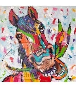 Corrie 60 x 60 ''Paard  met Tulp''