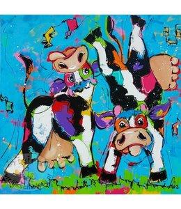 """Vrolijk Schilderij 100 x 100 cm schilderij """" Bokkensprongen """"  Verkocht"""