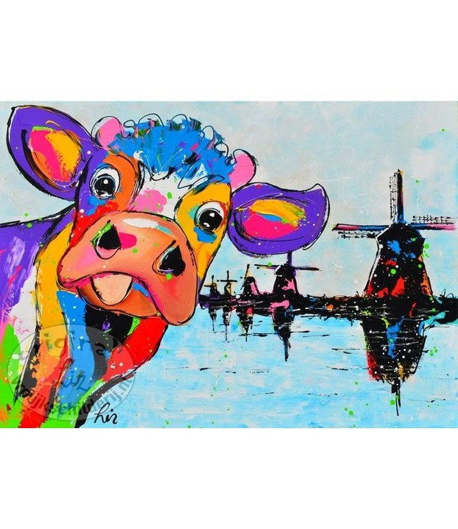 Poster koe met molens 70x50