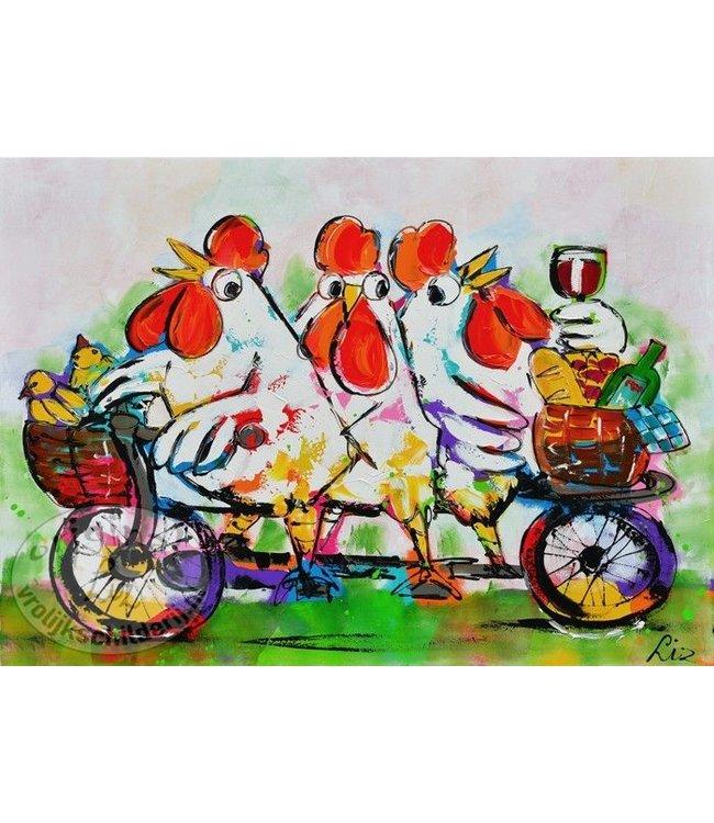 Poster kippen op fiets 70x50