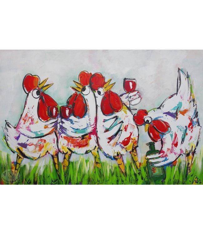 Corrie 100 x 80 '' Kippen aan de wijn''