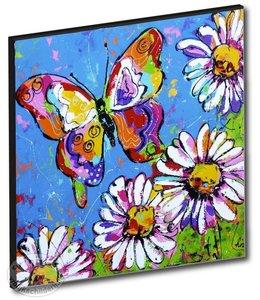 """Kunstdruk 2 cm """" Vlinder met bloemen """" 20 x 20"""
