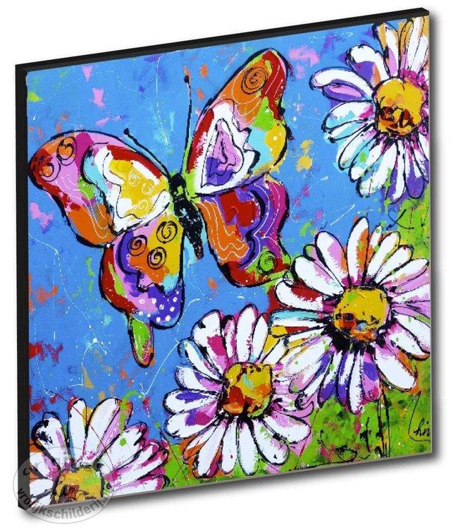 """Kunstdruk 3 cm """"Vlinder met bloemen"""" vanaf"""