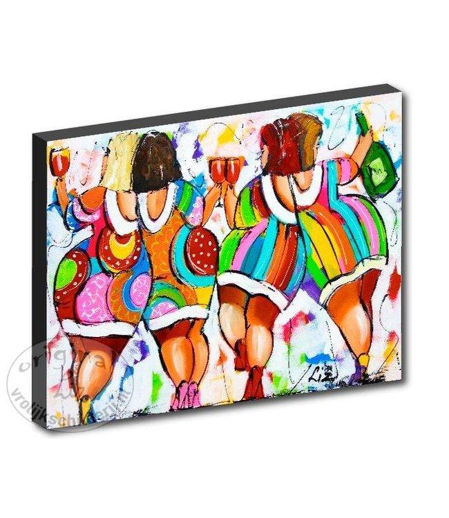 "Kunstdruk 2 cm "" Vrolijke dames "" 120 x 80"