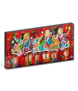 """Kunstdruk 2 cm """" Dames rood """" 120 x 60"""