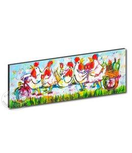 "Kunstdruk 2 cm "" Kippen tandem lichtblauw "" 120 x 40"