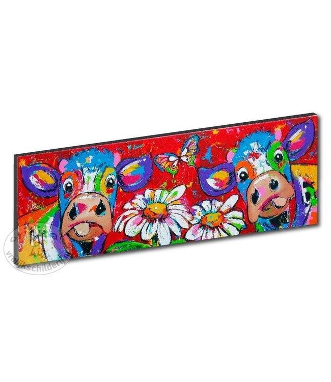 "Kunstdruk 2 cm "" Koeien in rood "" 120 x 40"