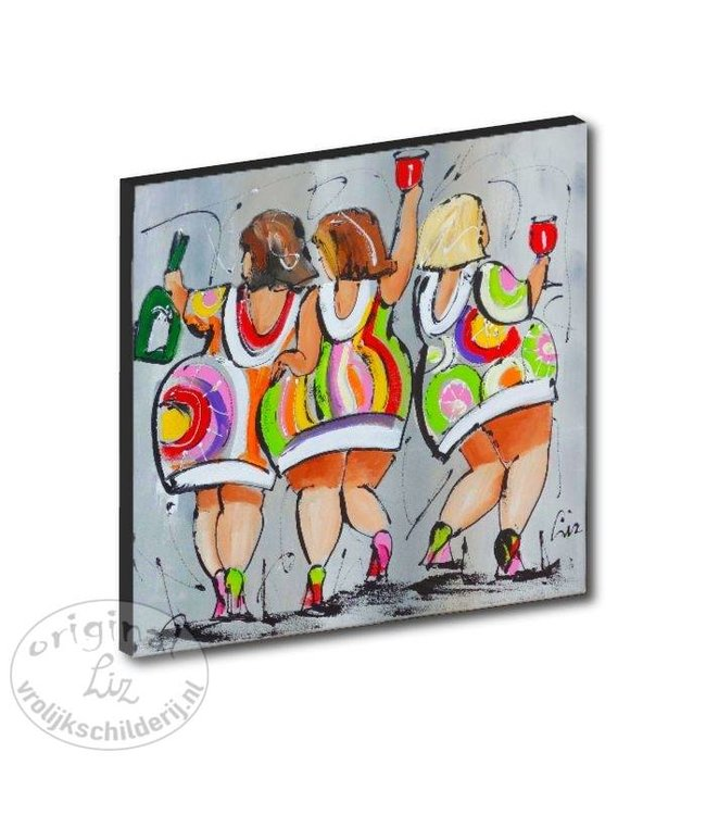 "Kunstdruk 2 cm ""Party sisters"" 20 x 20"