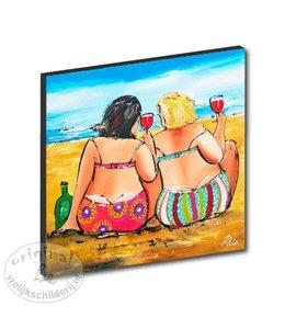 """Kunstdruk 2 cm """"Proosten aan het strand"""" 20 x 20"""