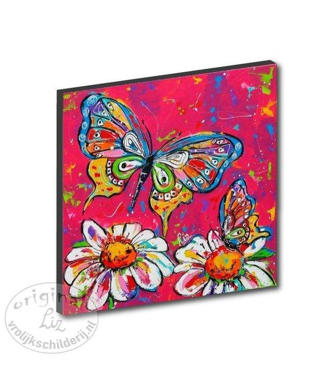 """Kunstdruk 2 cm """"Vlinders rood"""" 20 x 20"""