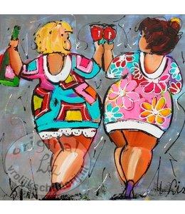 """Ansichtkaart """" Dames grijs """" 15 x 15 cm"""