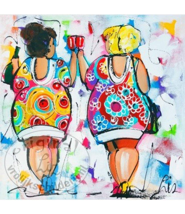 """Ansichtkaart """" Dames wit """" 15 x 15 cm"""
