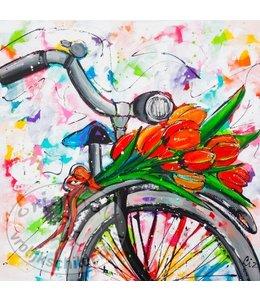 """Ansichtkaart """" Tulpen fiets """" 15 x 15 cm"""