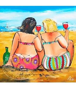 """Ansichtkaart """"Glaasje aan het strand """" 15 x 15 cm"""