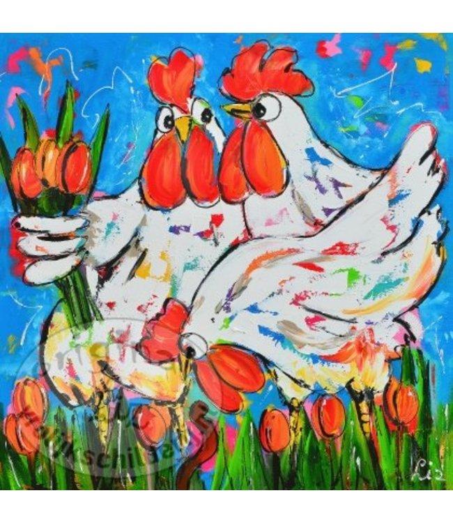 "Ansichtkaart "" Tulpen plukken "" 15 x 15 cm"