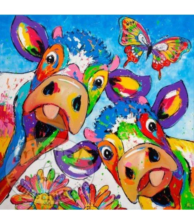 """Ansichtkaart """" Duo koeien vlinder """" 15 x 15 cm"""